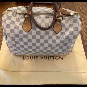 Authentic Louis Vuitton Speedy 30 Damier Azur